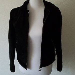 Black Sueded Leather Roxy Jacket Size Small